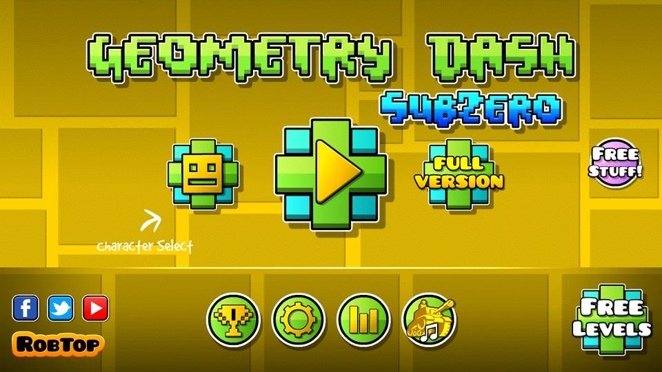 Menu de Geomry dash sub zero en colores amarillo verde y azul
