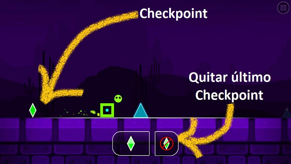 Explicacion del modo de practica con Checkpoints del juego geometry dash Sub zero