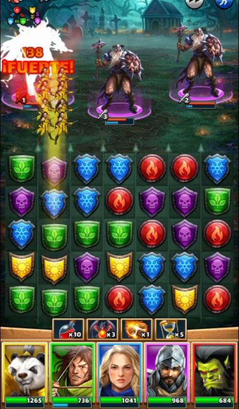 Combinacion de piezas de elemento en Empires and Puzzles Combate estilo arcade